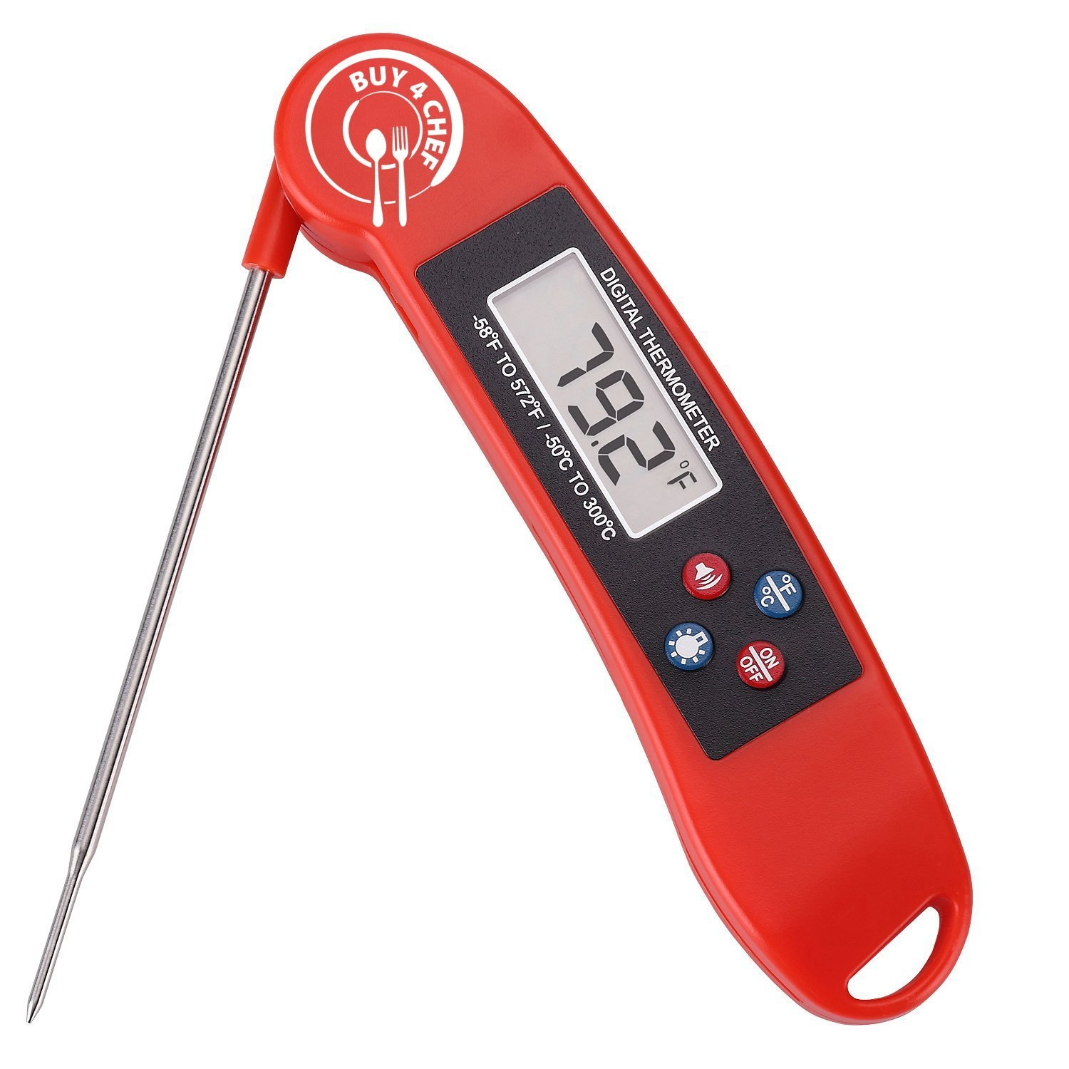 Buy4Chef Talking, Instant Read Digital Food Thermometer with Back Light | Food Grade Stainless Steel Probe & Durable Plastic Housing | Bonus Meat Temperature Guide