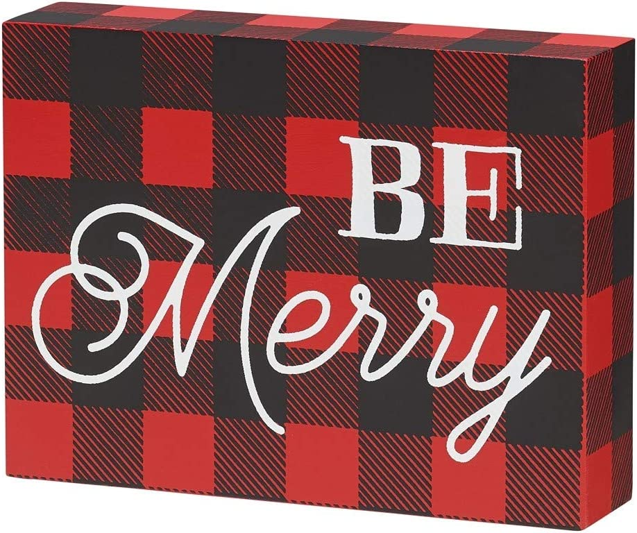 Collins Festive Plaid Patterned Wood Block Sign Joy to The World