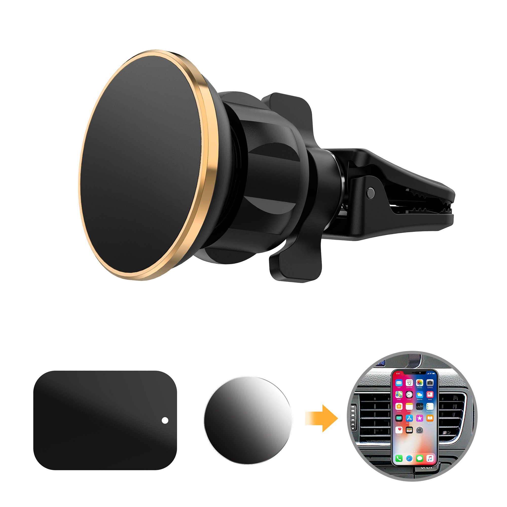 Car Mount Magnetic Vent Mount Magnetic Car Mount Holder Twist-lock With Fast Swift-Snap Technology for All Smartphones and Mini Tablets (Compatible Most Case),2 Metal Plates,Black