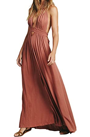 775ddec347 CA Mode Women Plunging Neckline Summer Beach Evening Prom Gown Party Maxi  Dress Pink Small Small Pink at Amazon Women's Clothing store: