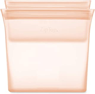product image for Zip Top Reusable 100% Silicone Food Storage Bags and Containers - 2 Bag Set - Sandwich & Snack Bags - Peach