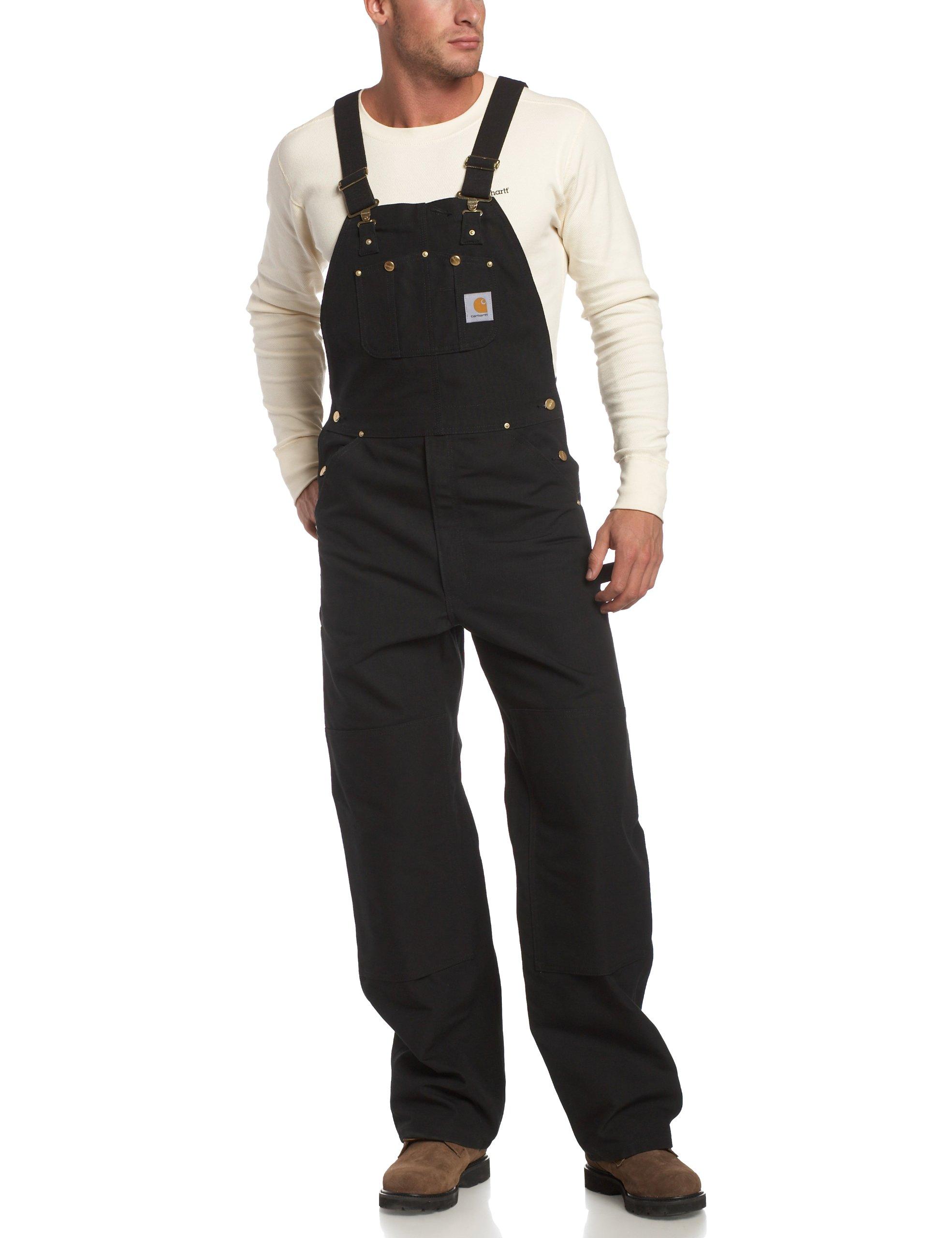 Carhartt Men's Duck Bib Overall Unlined R01,Black,42 x 28