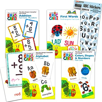 World of Eric Carle Flash Cards Bundle ~ ABC, Numbers, Colors, Shapes, and Separately Licensed Crenstone Alphabet Stickers: Toys & Games