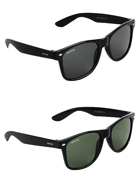 e7d7bc02e01e CREATURE Wayfarer Unisex Sunglasses Combo with UV Protection (Black and  Green