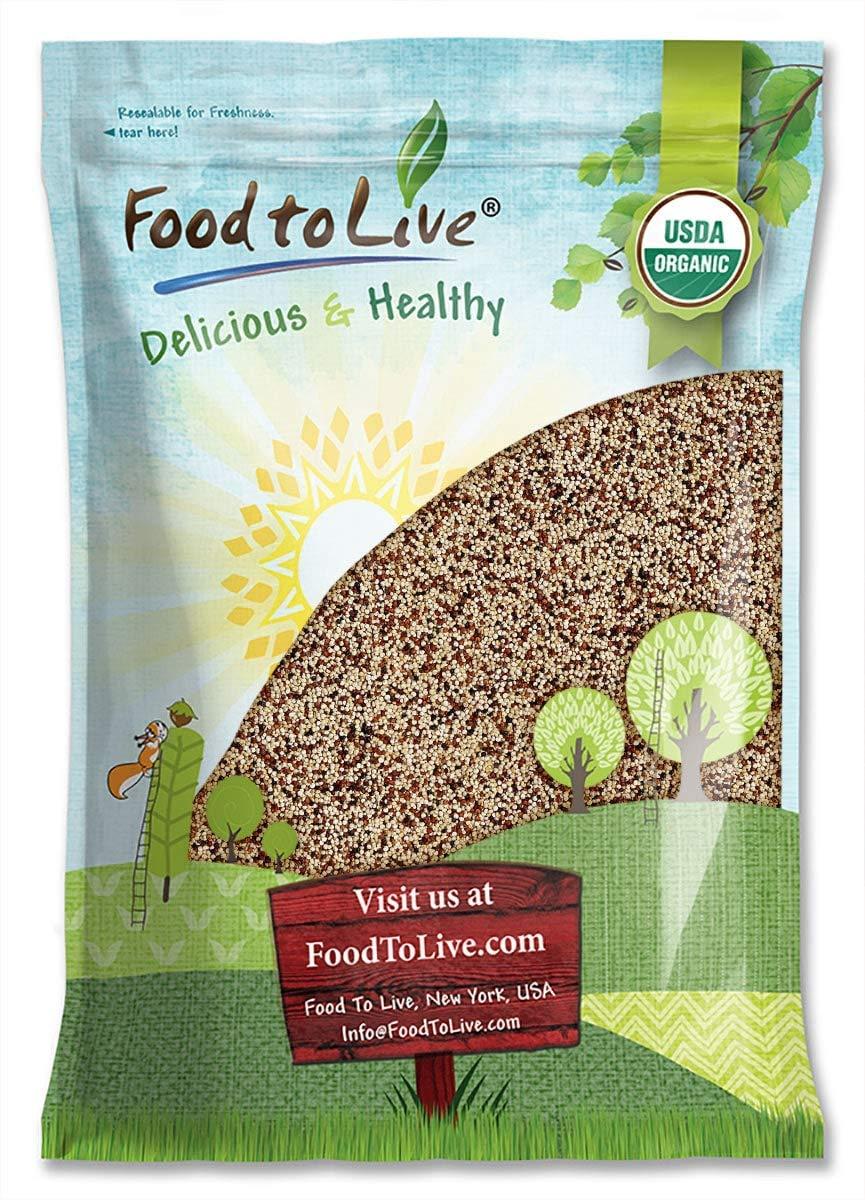 Organic Tri-Color Quinoa, 10 Pounds — Non-GMO, Raw, Whole Grain, Non-Irradiated, Kosher, Vegan, Sproutable, Bulk, Three-Color or 3-Color Blend of White, Black and Red Quinoa