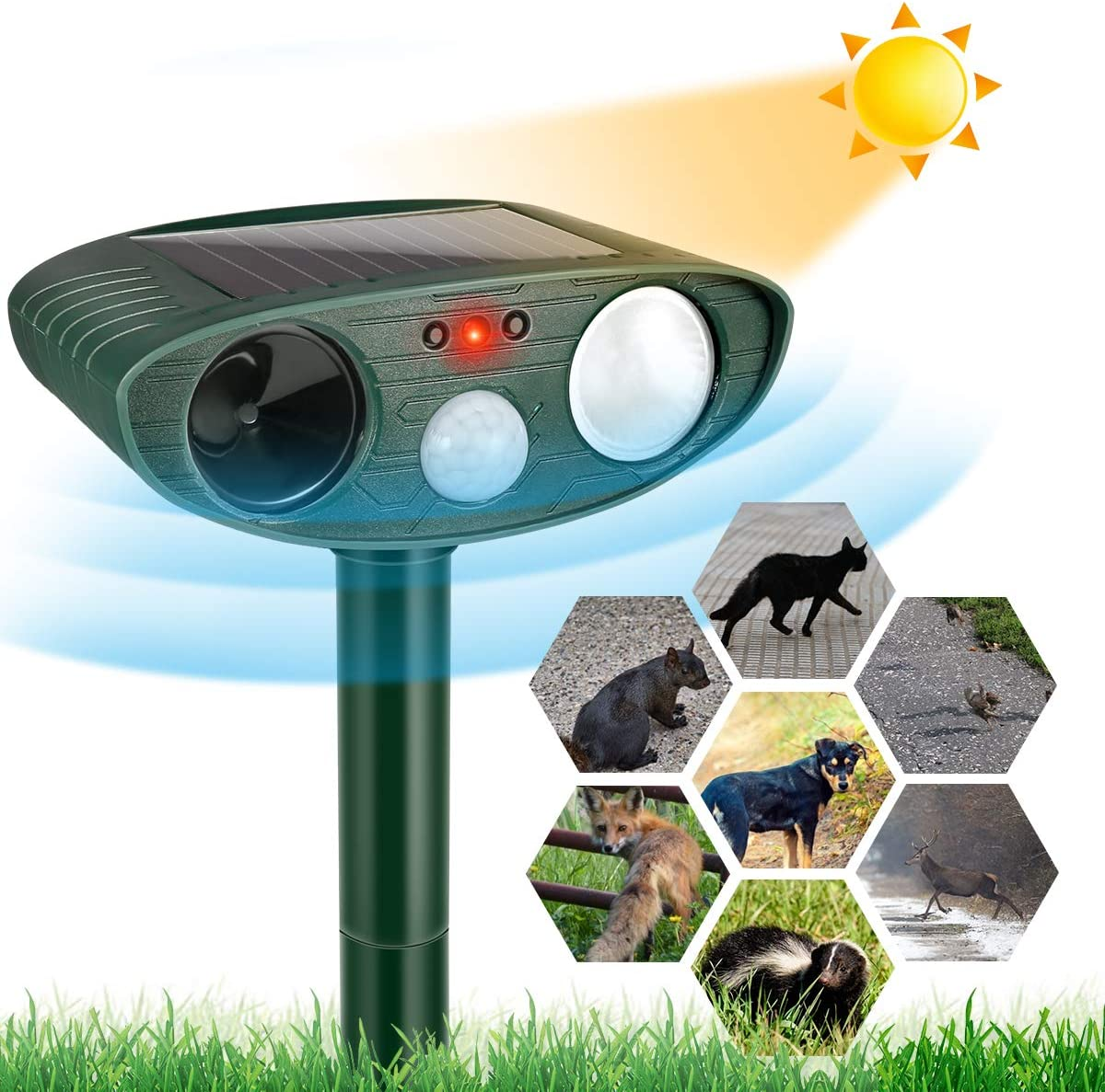 Dog Cat Repellent, Ultrasonic Animal Repellent with Motion Sensor and Flashing Lights Outdoor Solar Powered Waterproof Farm Garden Yard Repellent, Cats, Dogs, Foxes, Birds, Skunks, Rod,Chipmunk,Deer