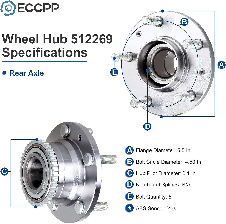 PAIR FRONT Wheel Hub /& Bearing For 1990-1998 MAZDA PROTEGE