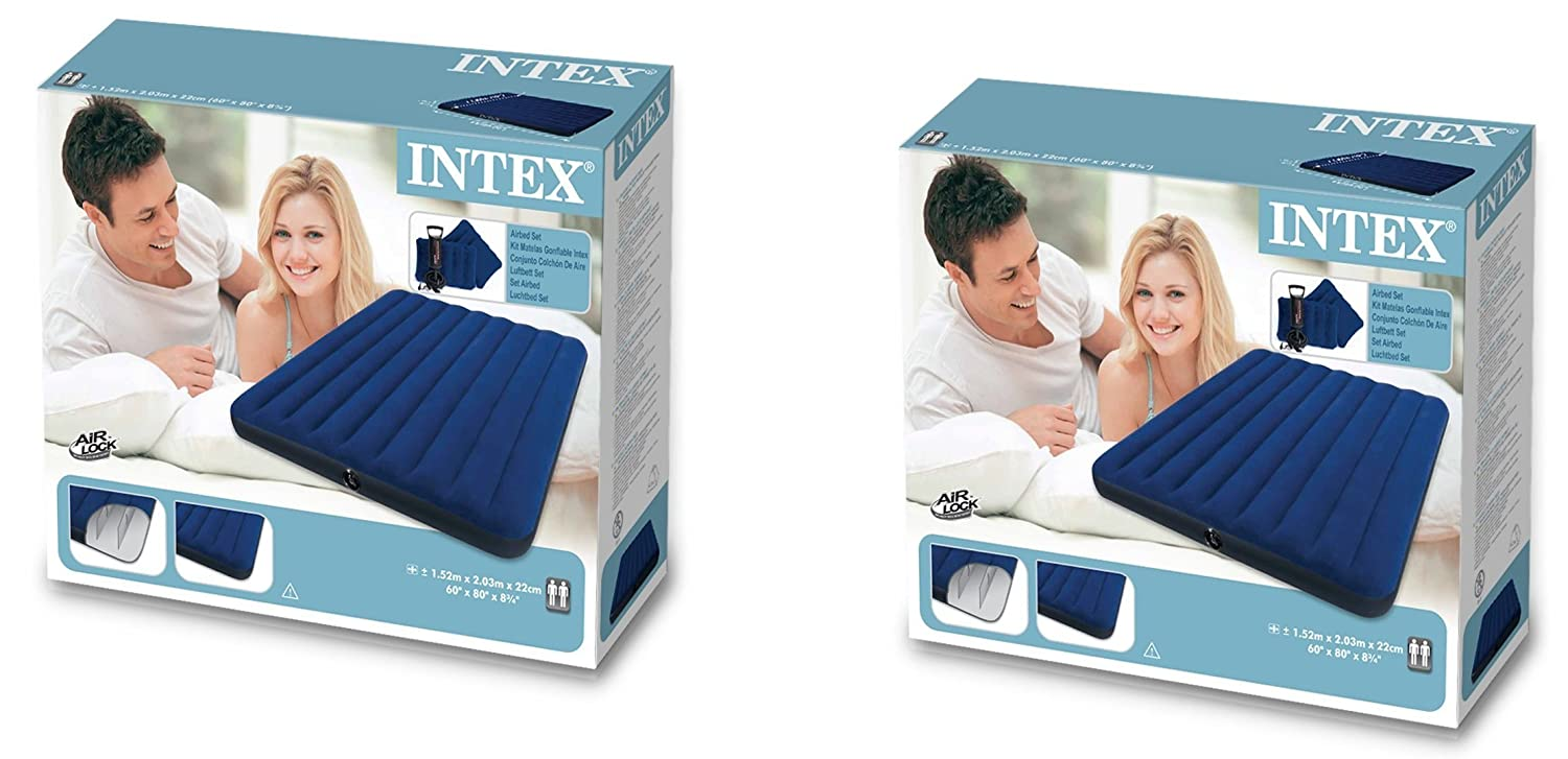 Amazon.com: Intex Classic rlrlbD Downy Airbed Set with 2 Pillows and Double Quick Hand Pump, Queen, 2 Sets: Home & Kitchen