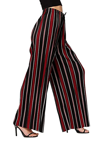 2b7297841f59a Conceited Women's High Waisted Wide Leg Printed Pleated Palazzo Pants -  Americana - One Size -