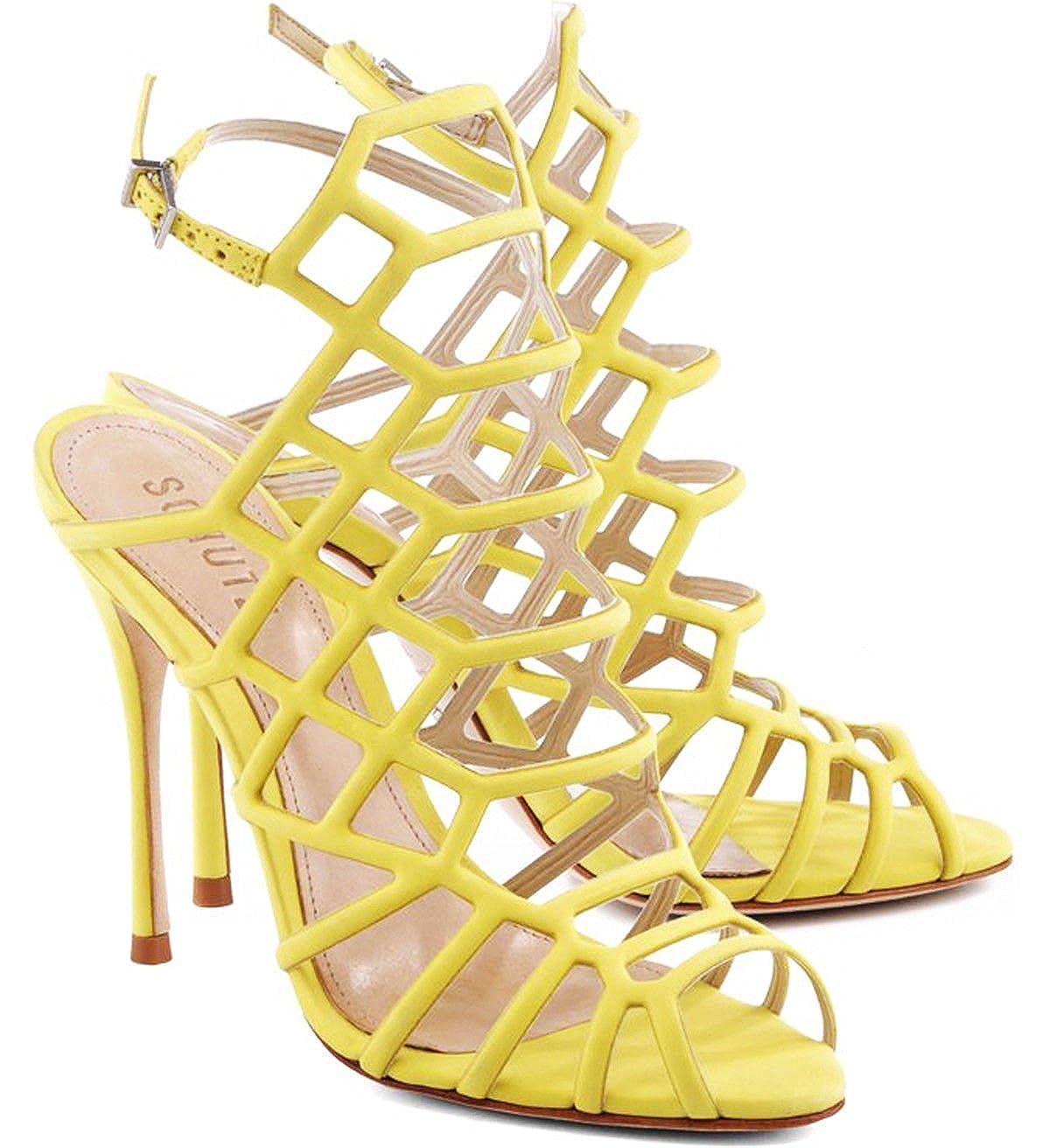 d336f897077 Amazon.com  SCHUTZ Juliana Mellon Bright Yellow Stiletto High Heel Caged  Dress Pump Sandals  Shoes