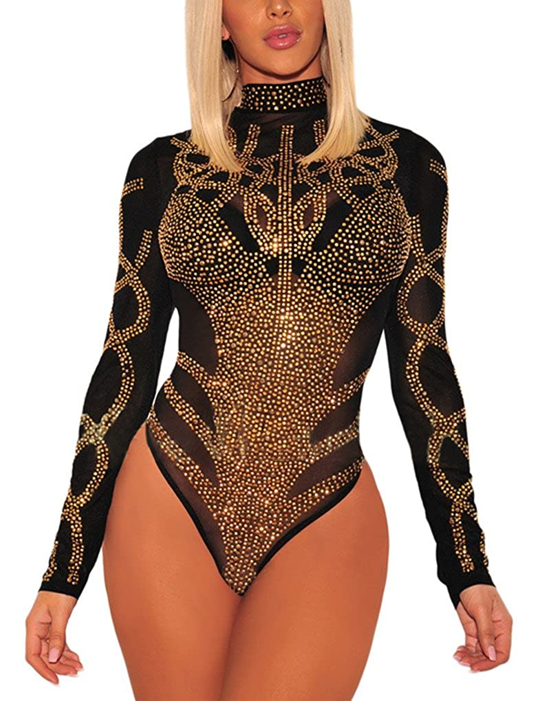 35f611689005 GLUDEAR Women's Sexy Rhinestone Sheer Mesh Long Sleeves Bodysuits Clubwear  at Amazon Women's Clothing store: