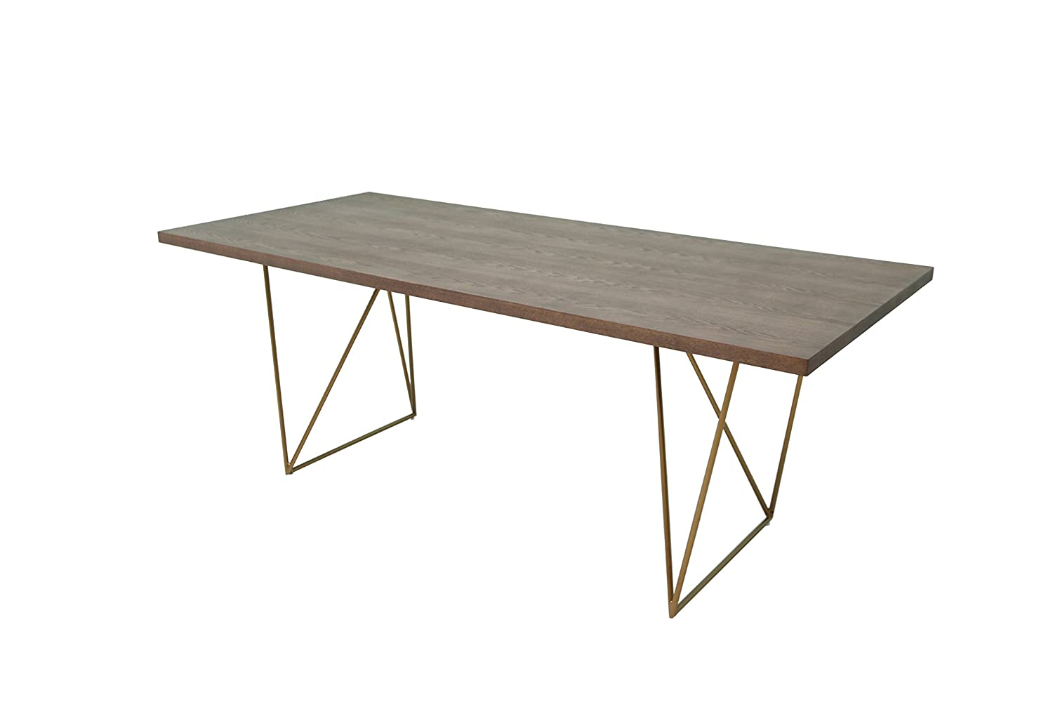 Limari Home Kezia Collection Mid-Century Modern Contemporary Rectangular Floating Dining Table with Geometric Antique Brass Legs, Tobacco Veneer