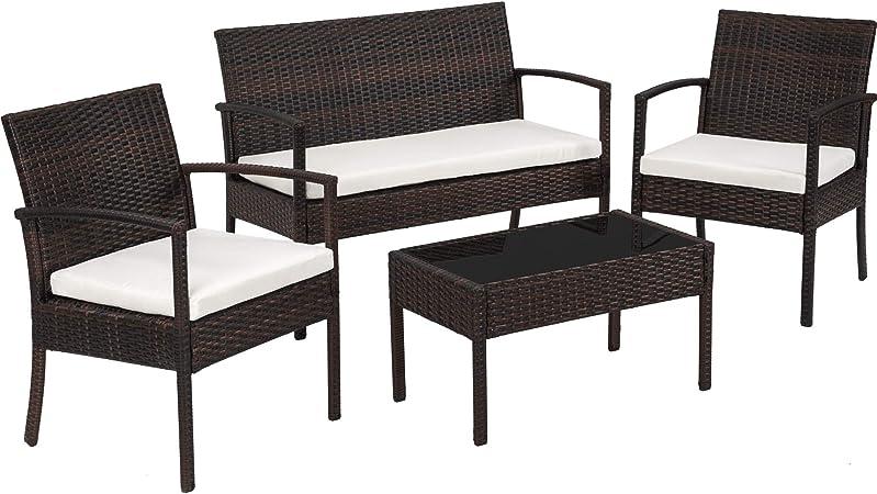 TecTake Conjunto muebles de Jardín en Poly Ratan Sintetico - negro 4 plazas, 2 sillones, 1 mesa baja, 1 banco - disponible en diferentes colores - (Negro/Marrón): Amazon.es: Hogar