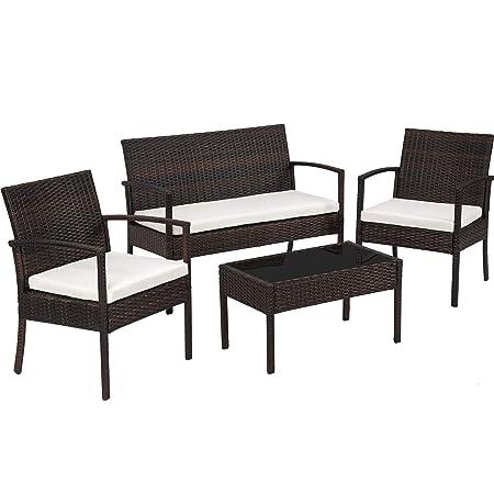 TecTake Conjunto muebles de Jardín en Poly Ratan Sintetico - negro 4 plazas, 2 sillones, 1 mesa baja, 1 banco - disponible en diferentes colores - ...