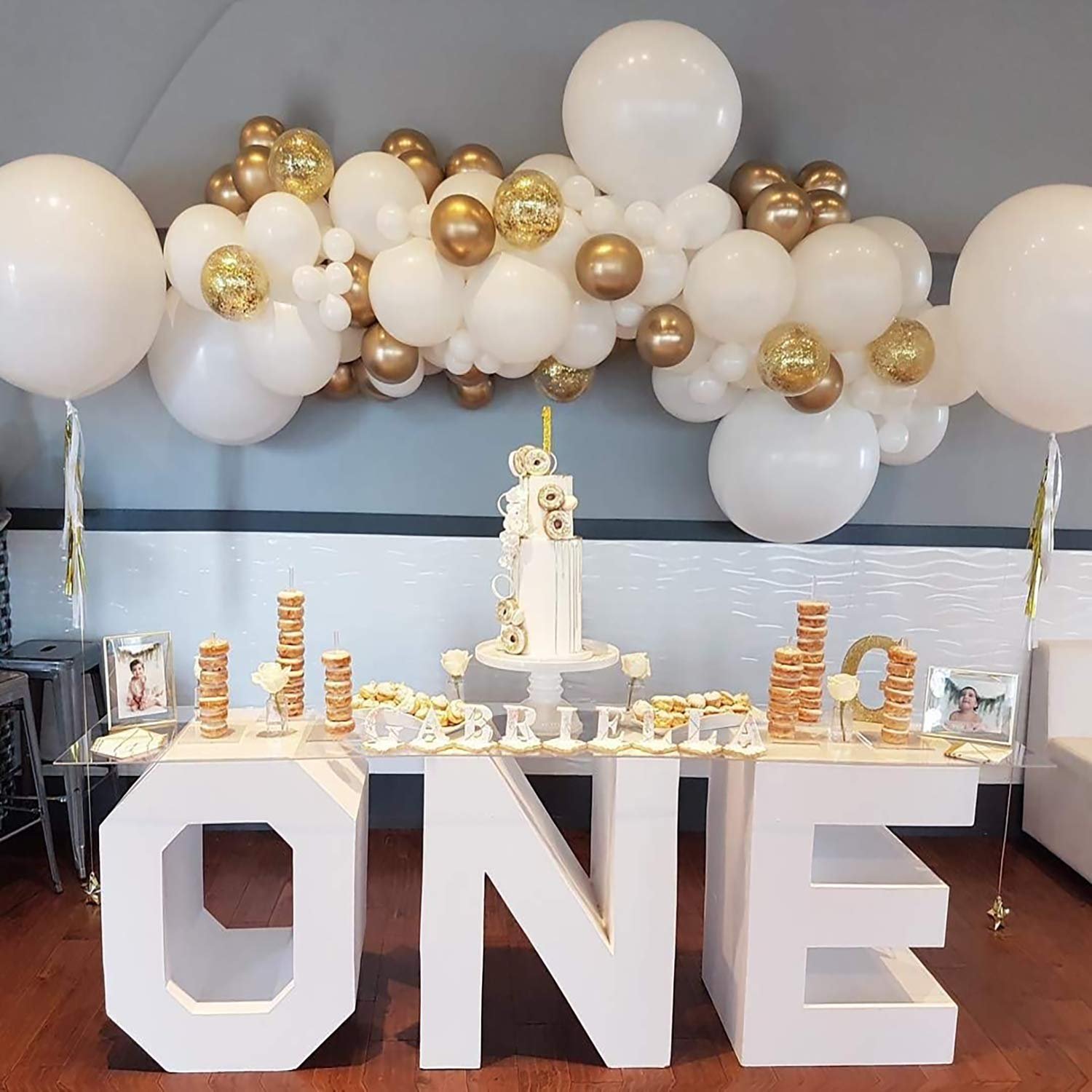Balloons/Balloon Arch Garland Kit 104 Pcs -White Gold Confetti Balloons,Balloon for Parties, Party Wedding Birthday Balloons Decorations