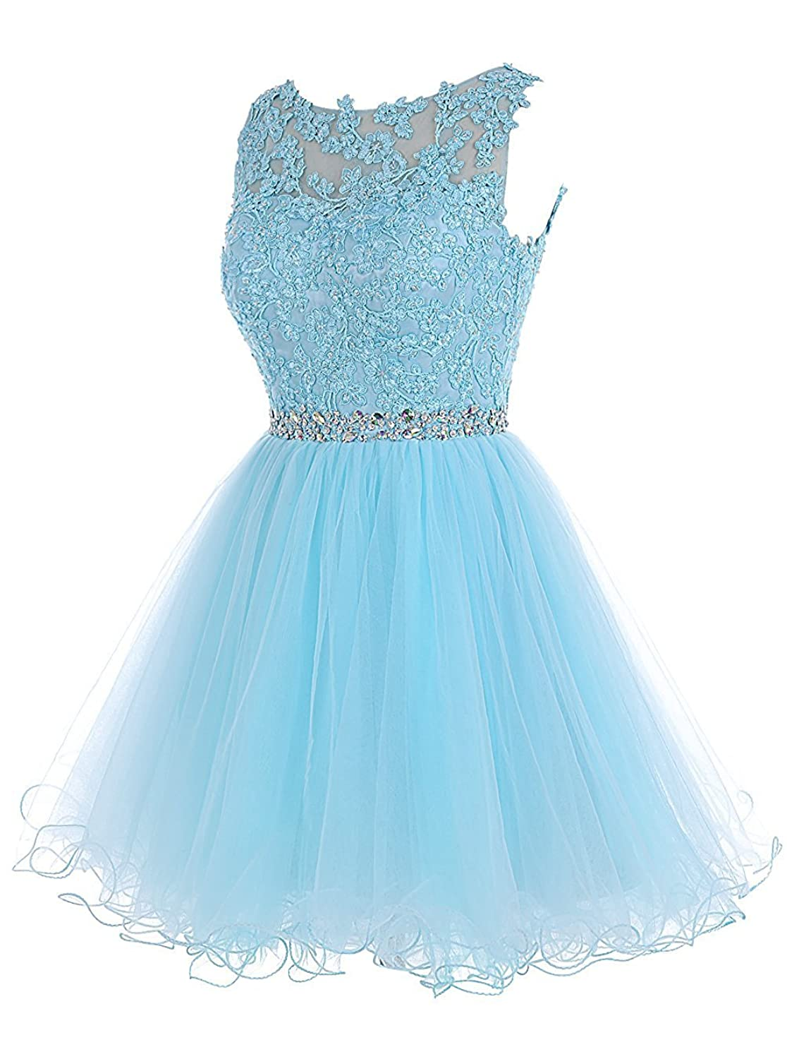New Sposa Short Beaded Homecoming Dresses Tulle Applique Prom ...