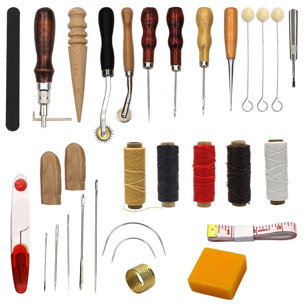 25pezzi cucito forniture strumenti accessori artigianali in pelle, strumenti cucitura cucito a mano Lenhart