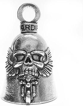 Guardian Bell Gbghst Ghost Rider Totenkopf Auf Motorrad Biker Luck Gremlin Reitglocke Oder Schlüsselanhänger Silber 3 8 Cm Auto
