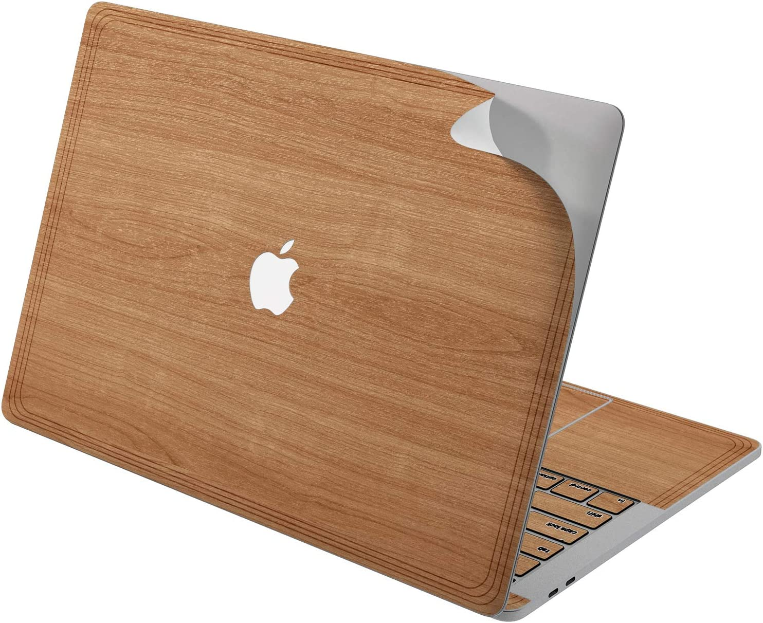 "Cavka Vinyl Decal Skin for Apple MacBook Pro 13"" 2019 15"" 2018 Air 13"" 2020 Retina 2015 Mac 11"" Mac 12"" Laptop Protective Classy Cover Glam Print Wood Minimal Sticker Brown Basic Simple Solid Design"
