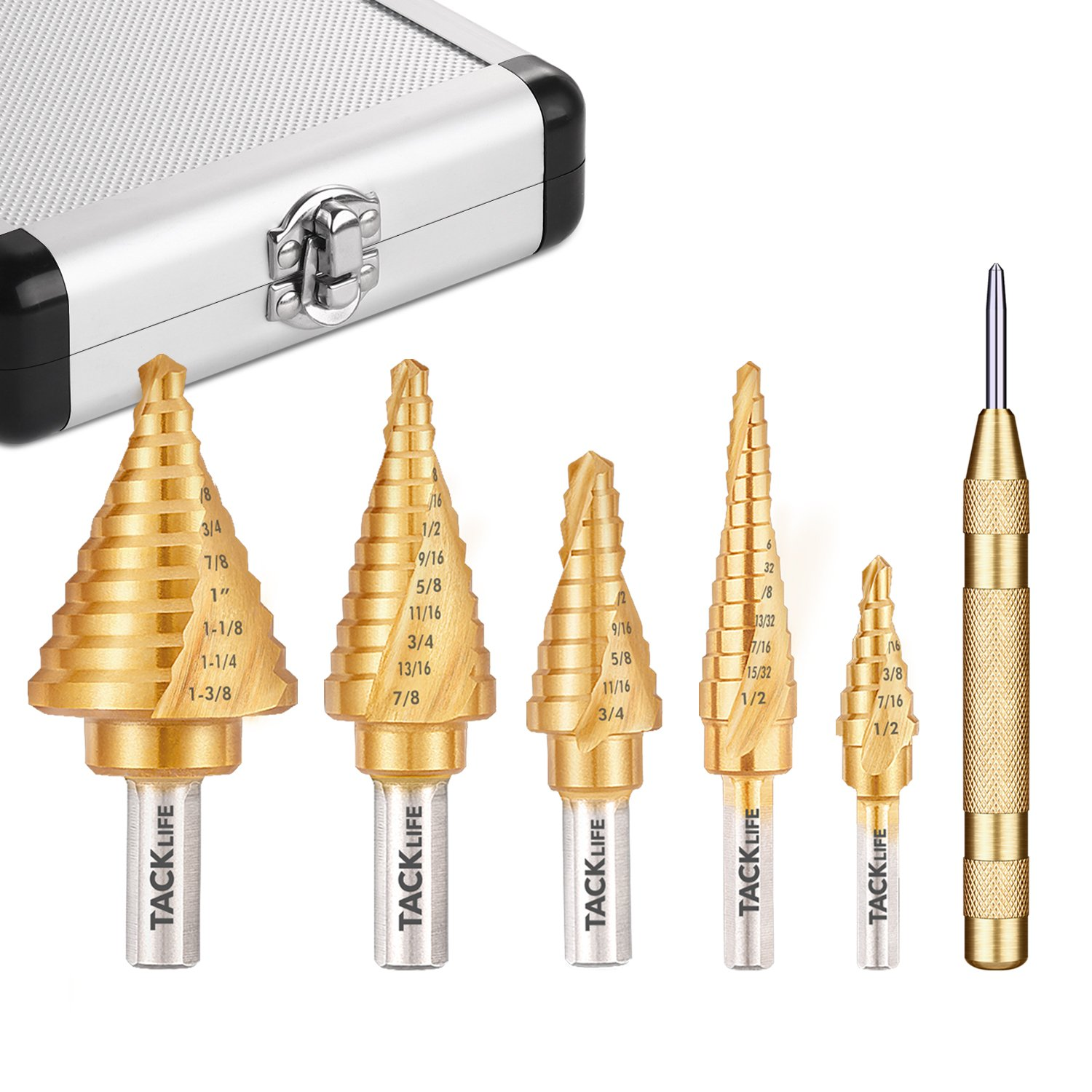 Step Drill Bit Set, Tacklife PSD4 Titanium Spiral Grooved Drill Bit & Automatic Center Punch, Double Cutting Blades, X-Type Opening, Laser Marking|5-Piece Set|Total 50 Sizes
