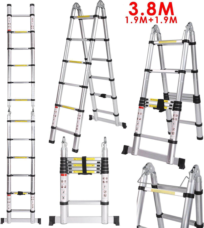 4,1m /Échelle T/élescopique /Échelle Extensible Portable Multifonction Aluminium Echelle /Échelle dextension de loft de 14 /étapes