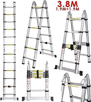 Voluker 3.8M Escaleras plegables aluminio,Escalera Telescópica ...