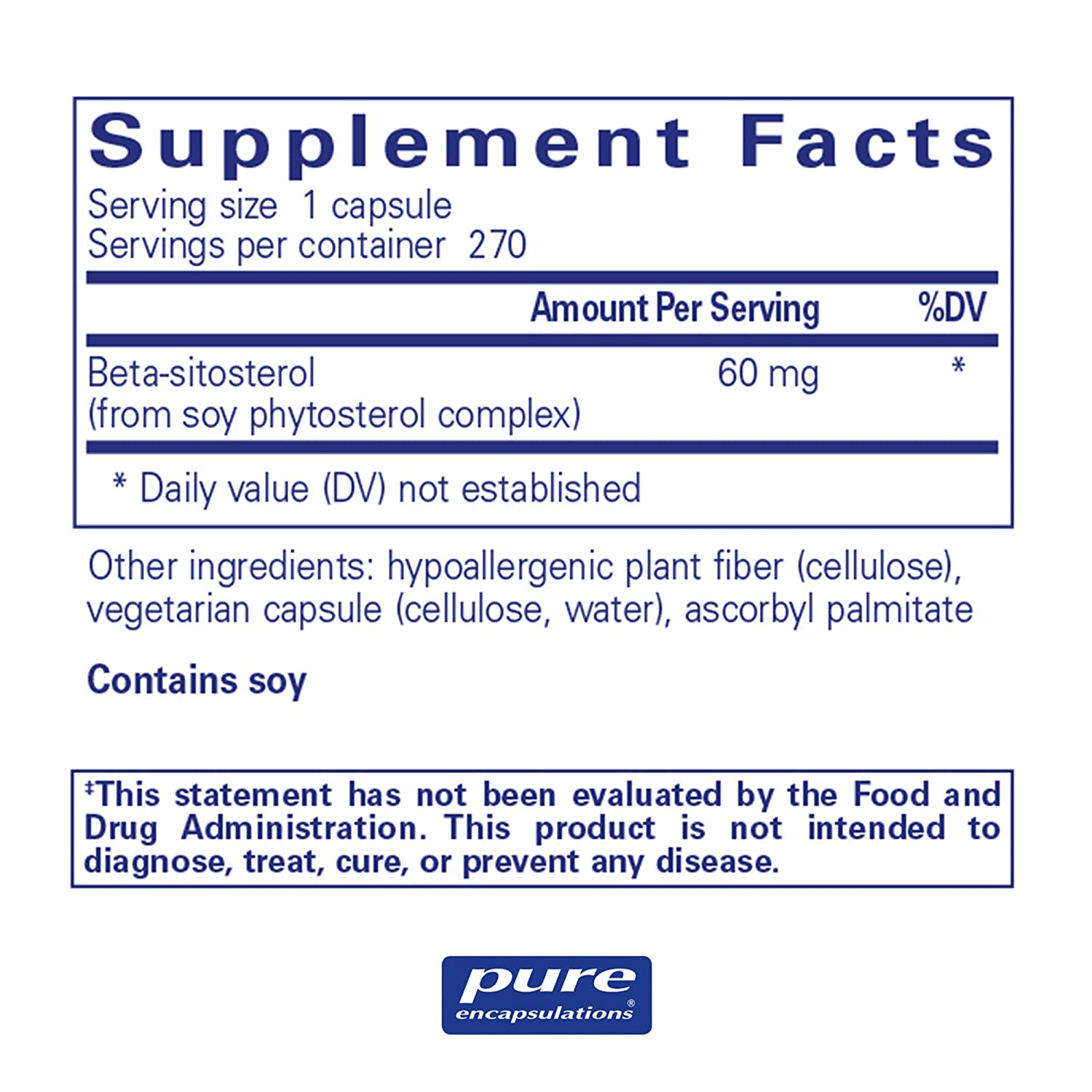Pure Encapsulations – Beta-Sitosterol – Hypoallergenic Supplement to Support Prostate Health* – 270 Capsules