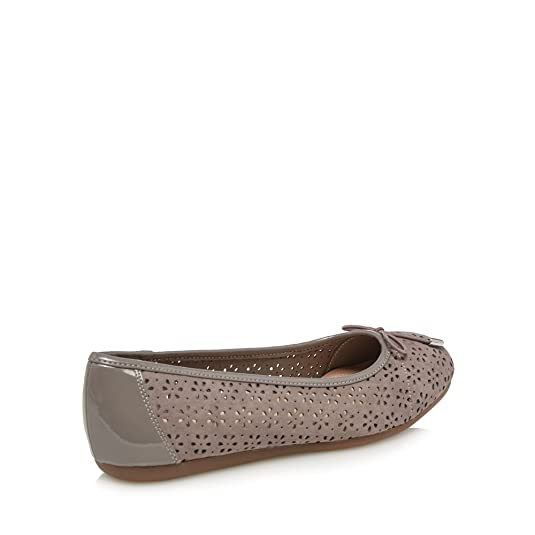 Grey laser cut 'Giggle' wide fit ballet pumps buy cheap 2015 clearance for sale discount fast delivery cheap price in China cY8Wo