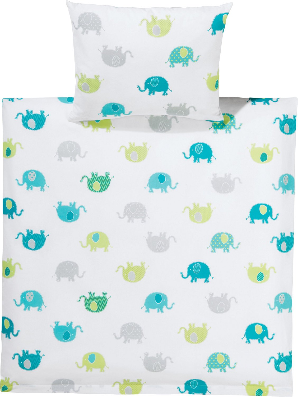 Kinderbutt baby & toddler duvet cover set, elephant Renforcé white-turquoise-green size 35x40 cm / 80x80 cm
