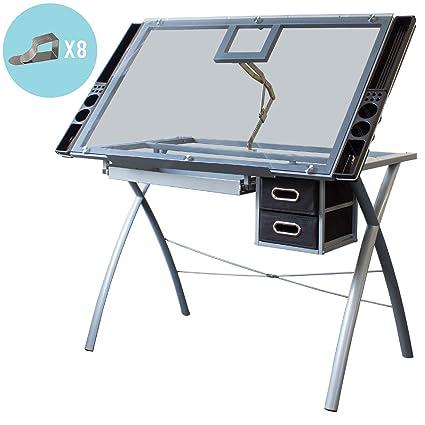Stationery Island Saba TP Mesa de Dibujo para Arte y Diseño – Mesa Dibujo Reclinable de Cristal Transparente con Almacenaje y Clips