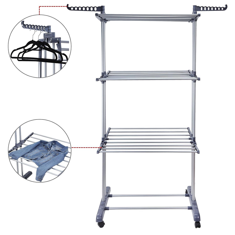Voilamart faltbarer Wäscheständer mit 3 Ebenen, für Innen- und ...