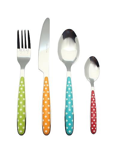 Exzact EX07-24pcs cubertería Acero Inoxidable con Asas de Color - 4 x Cena tenedors, 4 x Cuchillos, 4 x cucharas Cena, 4 x cucharaditas (Color ...