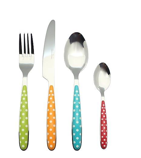 Exzact EX07-24pcs cubertería Acero Inoxidable con Asas de Color - 4 x Cena tenedors