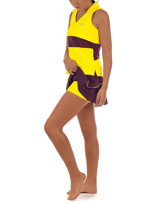 Cintura Alta combinando Granate y Amarillo Falda de Tenis o Padel IDAWEN con Short Interior