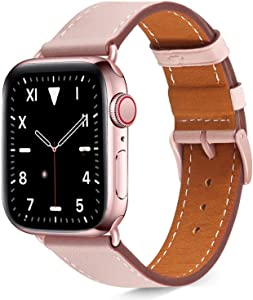 Compatible with Apple Watch Band 38mm 40mm iWatch Bands Womens for Series 6 SE 5 4 3 2 1,Pierre Case Durable Genuine Leather Replacement Strap,Adjustable Stainless Metal Clasp,Pink