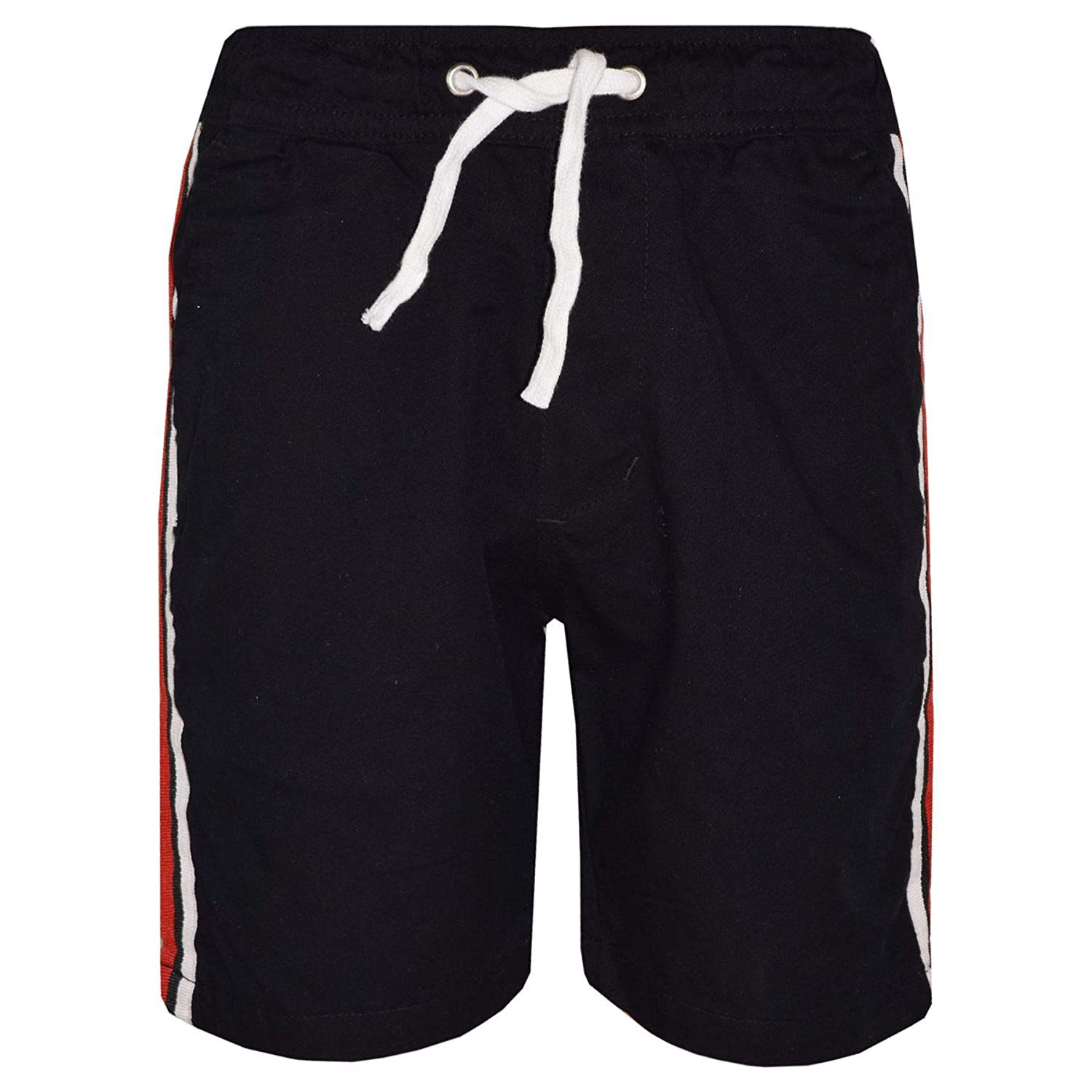 A2Z 4 Kids® Kids Girls Boys Shorts Contrast Stripes Cotton Black Chino Shorts Casual Knee Length Half Pant Age 5 6 7 8 9 10 11 12 13 Years
