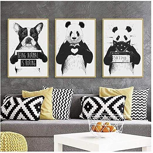 Arte Nórdico Animal De Dibujos Animados Panda Perro Lienzo ...