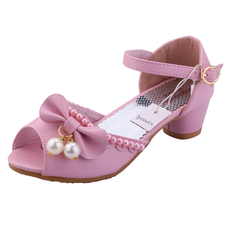 Tyidalin Sandales Fille, Chaussures à Talon Ballerine Princesse Enfant Blanc pour Ceremonie...