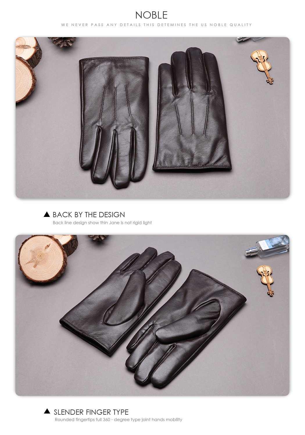 Leather Gloves for men,Anccion Best Touchscreen Winter Warm Italian Nappa Geniune Leather Gloves for Men's Texting Driving Cashmere/fleece Lining (Large, Brown) by Anccion (Image #6)