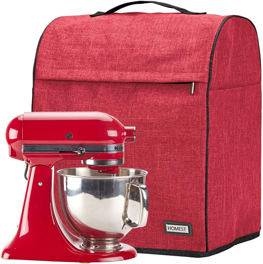HOMEST Stand Mixer Dust Cover, Storage Bag with Pockets Compatible with KitchenAid Tilt Head & Bowl Lift Models (Fit for Tilt Head 4.5-5 Quart, Red)