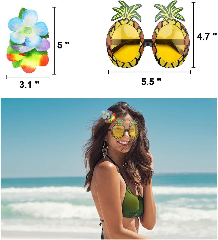 PHOGARY 8 Pezzi Costume Hawaiano Gonna Hula,Ragazza di Hula,Gonna Hawaiana,Accessori per Feste Hawaiane,Dancing Hula,Fiore,Leis Hawaiano Gonne di Erba per Adulti Vestito Operato Hawaiano per Donna
