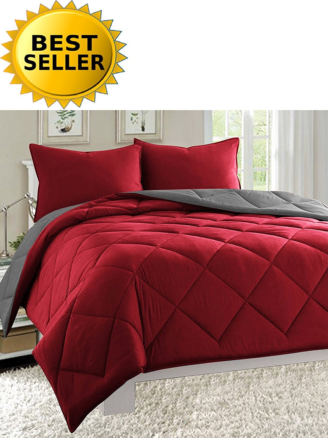 Celine Linen Luxury All Season Light Weight Down Alternative Reversible 3-Piece Comforter Set Burgundy/Grey