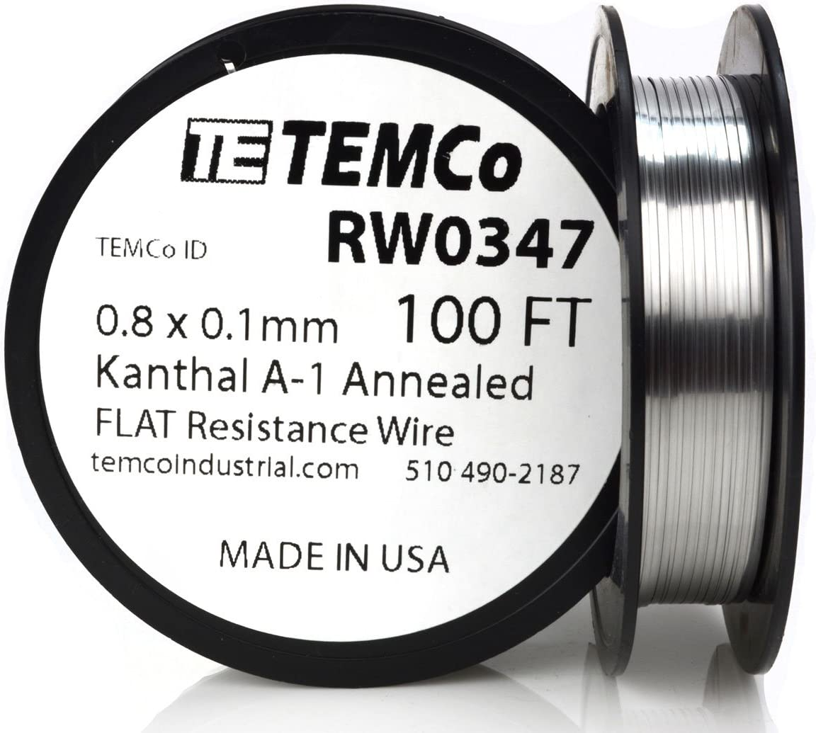 TEMCo Flat Ribbon Kanthal A1 Wire 0.8mm x 0.1mm 100 Ft Resistance A-1