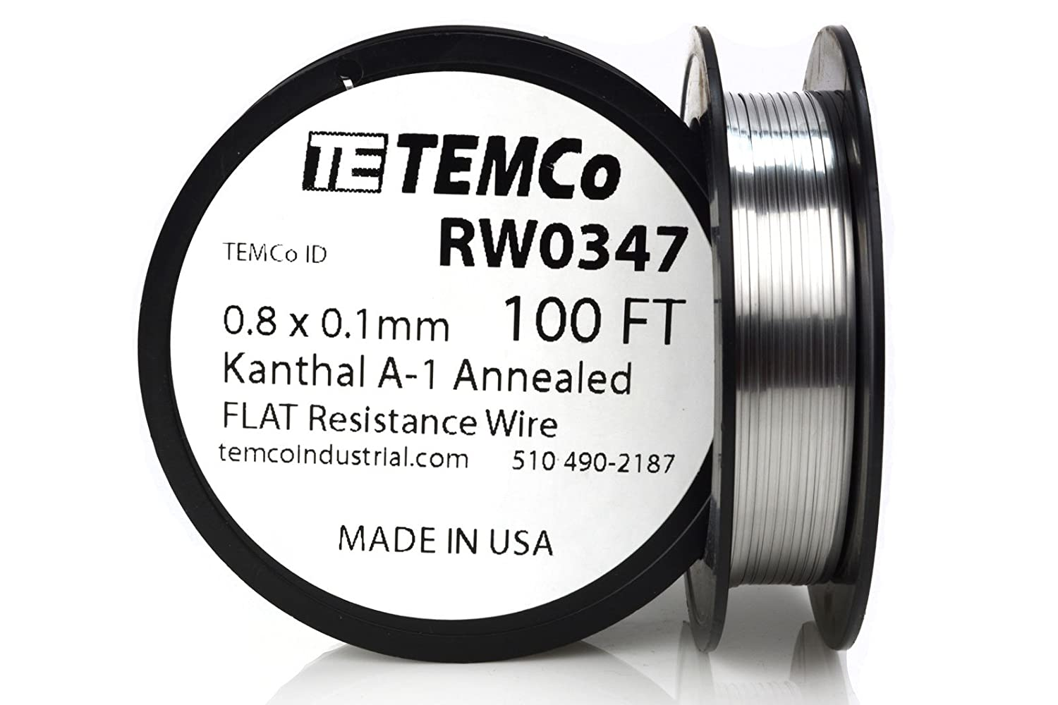 TEMCo Flat Ribbon Kanthal A1 Wire 0.8mm x 0.1mm 100 Ft Resistance A ...