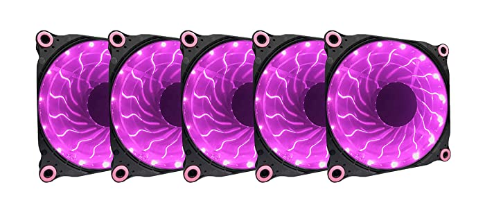 APEVIA 512L-DPP 120mm Silent Black Case Fan with 15 x Purple/Pink LEDs & 8 x Anti-Vibration Rubber Pads (5 Pk)
