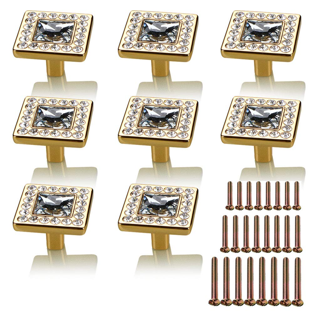 Mygogo 8pcs Diamond Crystal Knobs for Dresser Drawers Cabinet Handles Cabinet Pulls Zinc Alloy 1.3in 32mm Square with Screws