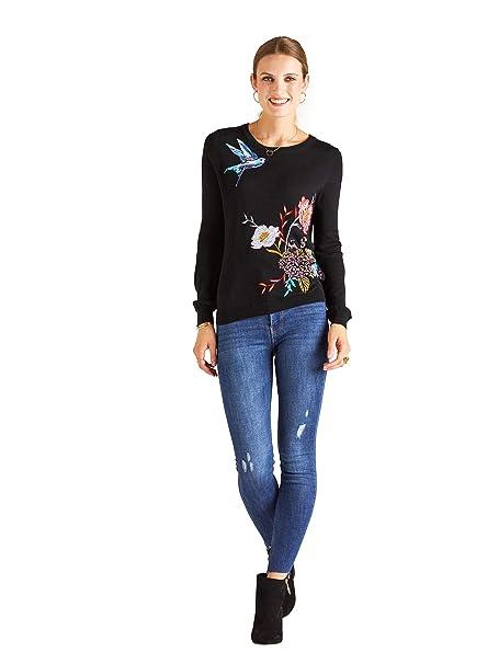 57bcdddaeb3 YUMI Bird Embroidered Jumper Black  Amazon.co.uk  Clothing