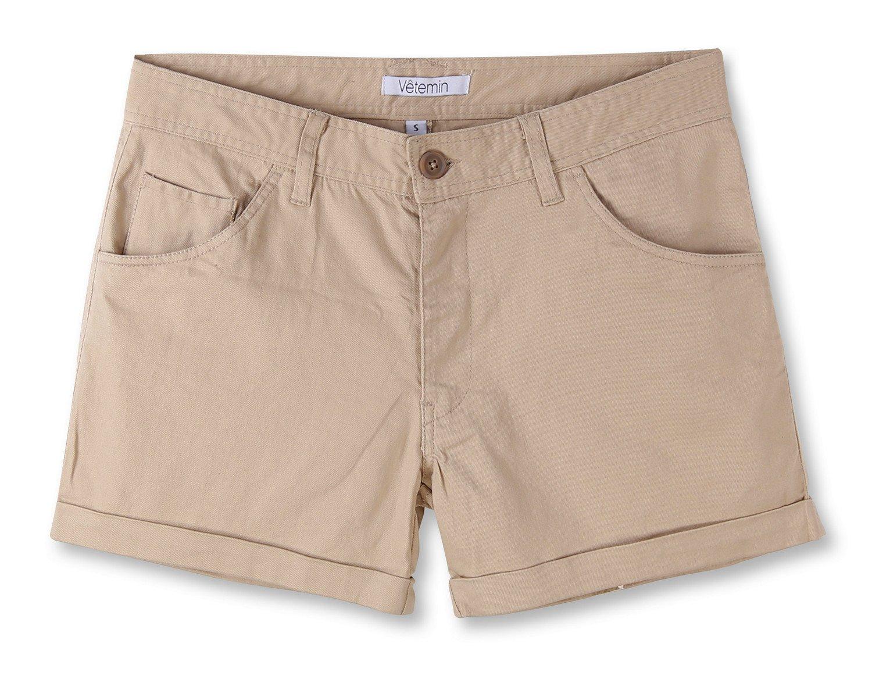Vetemin Women's Juniors Comfy Fitted 5-Pocket Cuffed Casual Walking Chino Shorts Light Khaki L