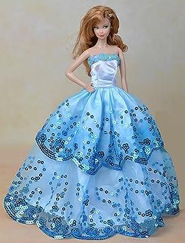 Youvinson Varios vestidos de novia hechos a mano y ropa para muñecas Barbie (Azul 2