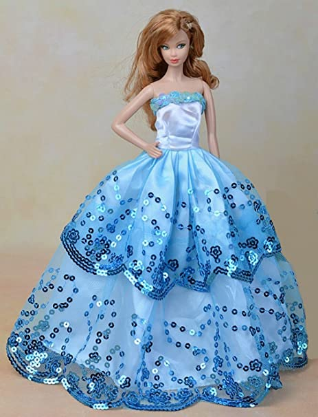Youvinson Diversi abiti fatti a mano da sposa e vestiti per bambole Barbie  (Blu 2 b44d3de90ba